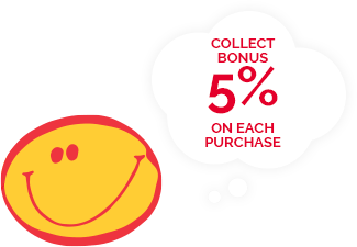 Collect bonus 5% on each purchase